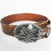 Belt | Skull Gun Cowboy Brown Embossed Etched Genuine Leather Belt
