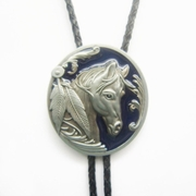 Vintage Blue Enamel Western Horse Head Oval Bolo Tie Wedding Leather Necklace