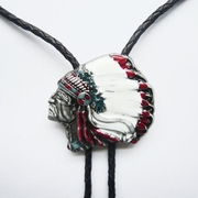 Vintage Enamel Western Chief Bolo Tie Wedding Leather Necklace