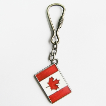 Vintage Enamel New Canada Canadian Flag Metal Charm Pendant Key Ring Key Chain