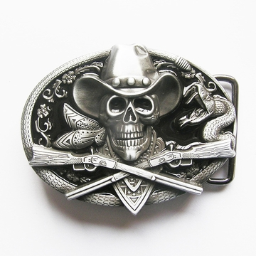 New Western Rodeo Skull Cowboy Black Enamel Oval Vintage Belt Buckle