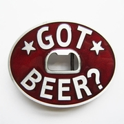 New Vintage Classic Oval Red Enamel Got Beer Bottle Opener Belt Buckle Gurtelschnalle Boucle de ceinture
