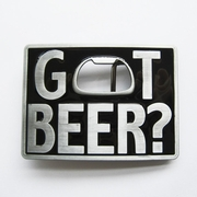 New Vintage Classic Black Enamel Got Beer Bottle Opener Rectangle Belt Buckle Gurtelschnalle