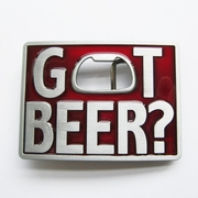 New Vintage Classic Red Enamel Got Beer Bottle Opener Rectangle Belt Buckle Gurtelschnalle