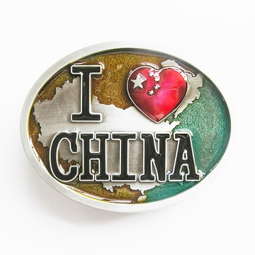 New Jean's Friend Background Enamel I Love China Chinese Flag Oval Vintage Belt Buckle