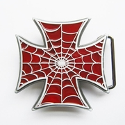 New Jean's Friend Red Enamel Iron Cross Spider Web Belt Buckle Gurtelschnalle Boucle de ceinture