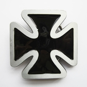 Jean's Friend New Vintage Black Cross Enamel Belt Buckle Gurtelschnalle Boucle de ceinture
