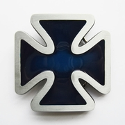 Jean's Friend New Vintage Blue Cross Enamel Belt Buckle Gurtelschnalle Boucle de ceinture