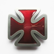 Jean's Friend New Vintage Red Cross Enamel Belt Buckle Gurtelschnalle Boucle de ceinture