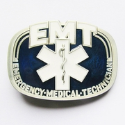 EMT Emergency Medical Technician Belt Buckle Pewter