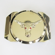 New Bright Silver Rhinestone Longhorn Bull Lighter Belt Buckle Gurtelschnalle Boucle de ceinture