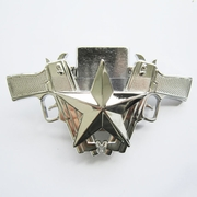 New Bright Silver Guns Star Lighter Belt Buckle Gurtelschnalle Boucle de ceinture