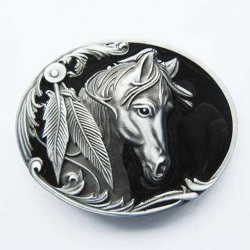 New Vintage Black Enamel Rodeo Horse Head Western Oval Belt Buckle Gurtelschnalle Boucle de ceinture