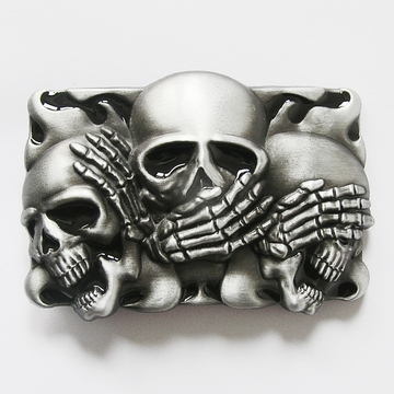 New Vintage Original Black Enamel Flame Shy Skulls Tattoo Belt Buckle Gurtelschnalle Boucle de ceinture