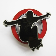 Belt Buckle (Spinning Skateboard Boy Red)