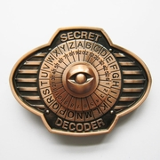 New Vintage Bronze Plated Secret Decorder Spinner Belt Buckle