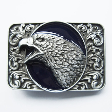 New Vintage Blue Enamel Bald Eagle Head Ornate Western Belt Buckle Gurtelschnalle Boucle de ceinture