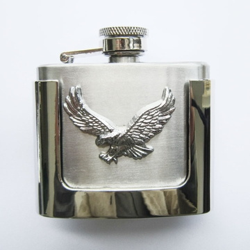 New JEAN'S FRIEND Classic Fly Eagle 2 oz Stainless Steel Flask Belt Buckle