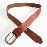 Classic Brown Plum Flower and Leaf Embossed Carved Real Leather Belt