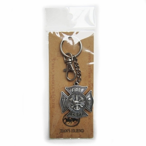 Vintage Silver Plated Firemen Firefighter Fire Dept Charm Key Ring Key Chain