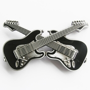 New Vintage Black Enamel Cross Guitars Music Belt Buckle Gurtelschnalle Boucle de ceinture BUCKLE-MU094