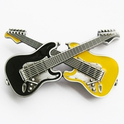 New Vintage Black Yellow Enamel Cross Guitars Music Belt Buckle Gurtelschnalle Boucle de ceinture BUCKLE-MU094BKYE