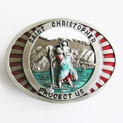 New Jean's Friend Original Enamel Saint Christopher Religion Vintage Belt Buckle Gurtelschnalle Boucle de ceinture