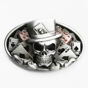 New Original Enamel Dice Skull Tattoo Poker Casino Oval Vintage Belt Buckle Gurtelschnalle Boucle de ceinture