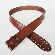 New Jeansfriend Brown Punk Nails Studded Genuine Leather Belt Solid Real Leather Belt Snap On Belt Gurtel