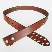 New JEAN'S FRIEND Brown Big Studded Punk Solid Real Leather Belt Gurtel