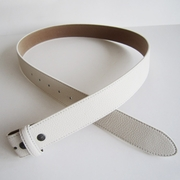 White PU Leather Belt Solid Heavy PU Snap On Belt