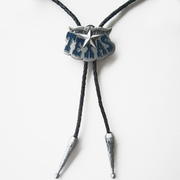 Vintage Blue Enamel Long Horn Bull Star Wedding Bolo Tie Leather Necklace