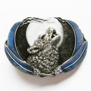 Jeansfriend New Enamel Western Wolf Moon Oval Belt Buckle Gurtelschnalle Boucle de ceinture