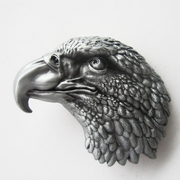 New Original Vintage Pewter Eagle Head Wildlife Western Belt Buckle