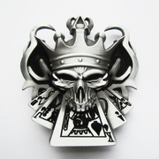 New Vintage Emo Skull Royal Flush Poker Casino Enamel Belt Buckle