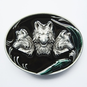 New Green Leaf Western Wolves Enamel Oval Belt Buckle
