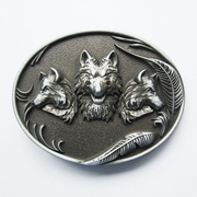 New Vintage Western Wolves Oval Belt Buckle