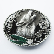 New Classic Green Leaf Enamel Western Wolf Oval Belt Buckle