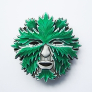 New Vintage Enamel Green Man Face Belt Buckle Gurtelschnalle Boucle de ceinture