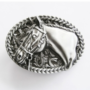 New Vintage Western Rope Chain Horse Cowboy Oval Belt Buckle