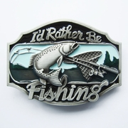 New Vintage Rather Be Fishing Fish Belt Buckle Gurtelschnalle Boucle de ceinture
