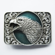 New Vintage Lake Blue Enamel Bald Eagle Head Ornate Western Belt Buckle Gurtelschnalle Boucle de ceinture