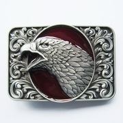 New Vintage Red Enamel Bald Eagle Head Ornate Western Belt Buckle Gurtelschnalle Boucle de ceinture