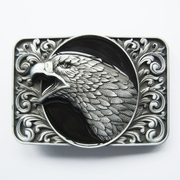 New Vintage Black Enamel Bald Eagle Head Ornate Western Belt Buckle Gurtelschnalle Boucle de ceinture