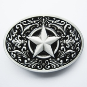 New Vintage Black Enamel Southwest Flower Western Star Oval Belt Buckle