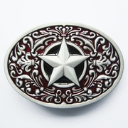 New Vintage Red Enamel Southwest Flower Western Star Oval Belt Buckle