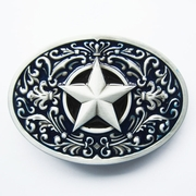 New Vintage Blue Enamel Southwest Flower Western Star Oval Belt Buckle