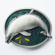 New Vintage Enamel Fish Dolphin Wildlife Belt Buckle Gurtelschnalle Boucle de ceinture