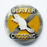 Beaver Crossed Animal Wildlife Belt Buckle