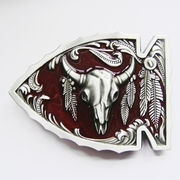 New Vintage Red Enamel Arrowhead Bull Native American Belt Buckle Gurtelschnalle Boucle de ceinture